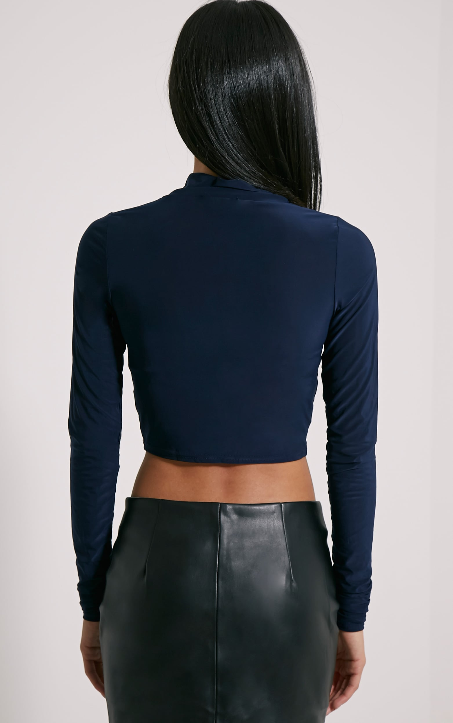 Saylor Navy Slinky Turtle Neck Crop Top 2