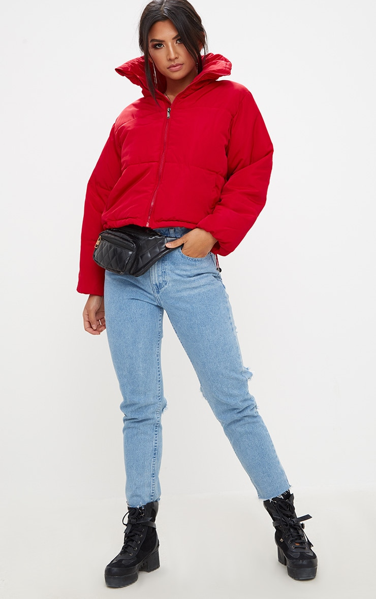 Red Cropped Puffer Jacket 4