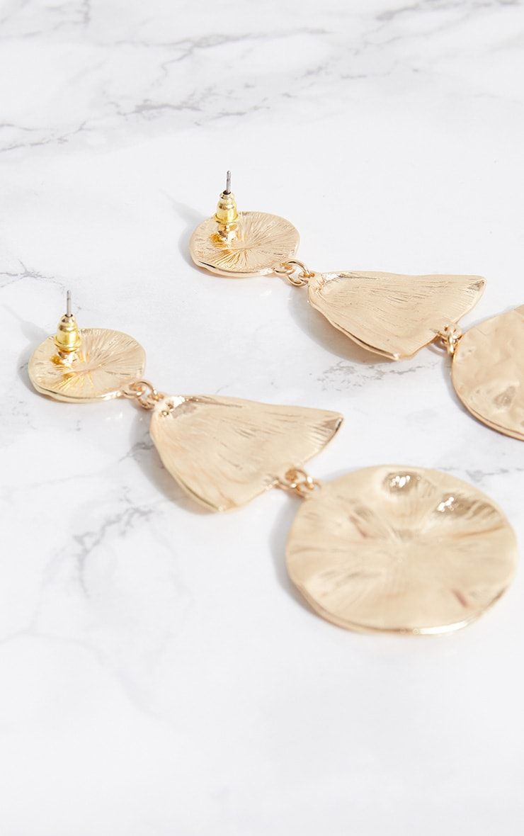 Gold Hammered Circle Drop Earrings 3