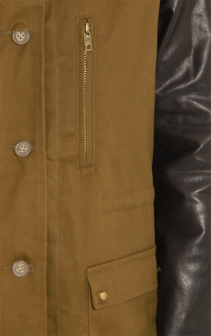 Roxy Khaki Faux Leather and Shearling Parka Coat 5