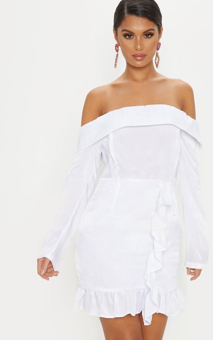 White Satin Bardot Frill Bodycon Dress 4