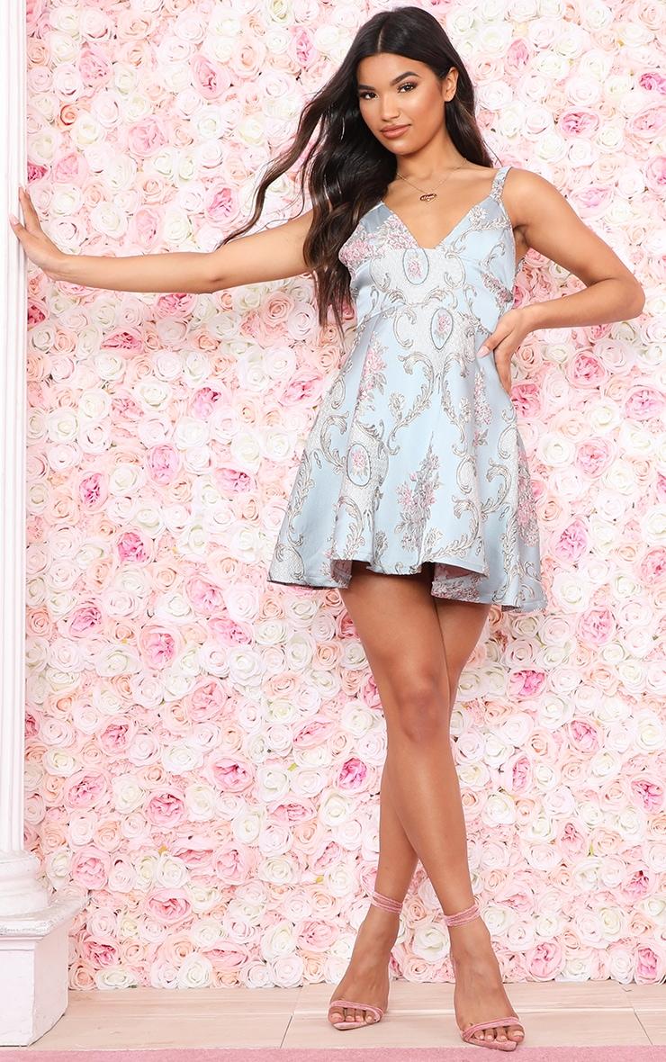 Dusty Blue Floral Jacquard Skater Dress 4