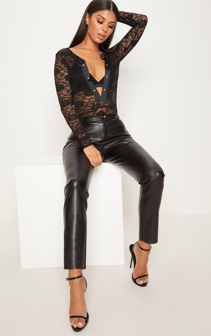 Black Lace Popper Front Thong Bodysuit 5