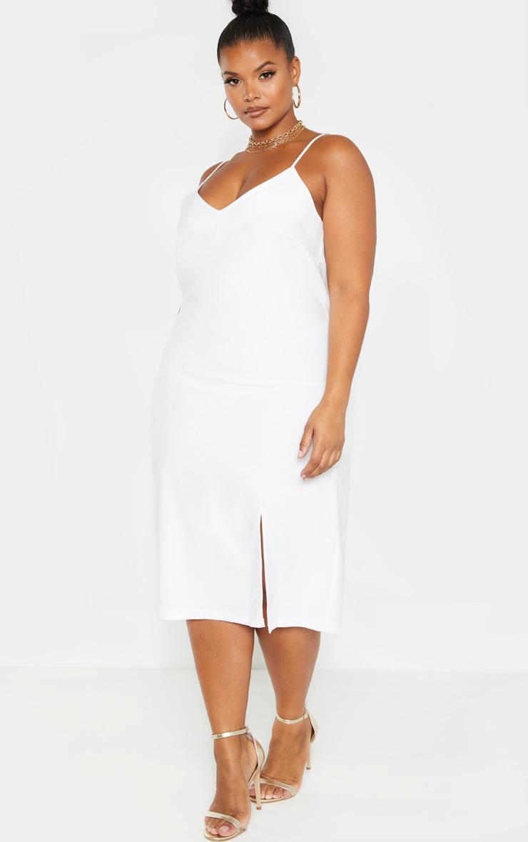 Plus White Woven Strappy Midi Dress 1