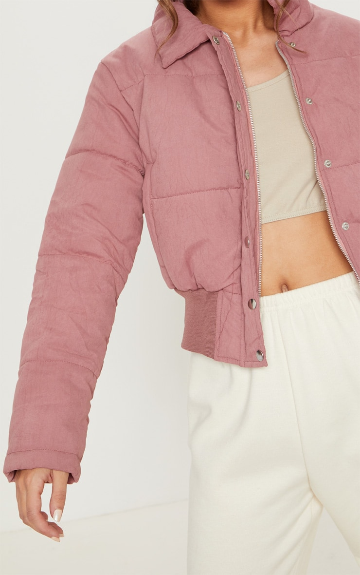 Pink Peach Skin Cropped Puffer Jacket 5