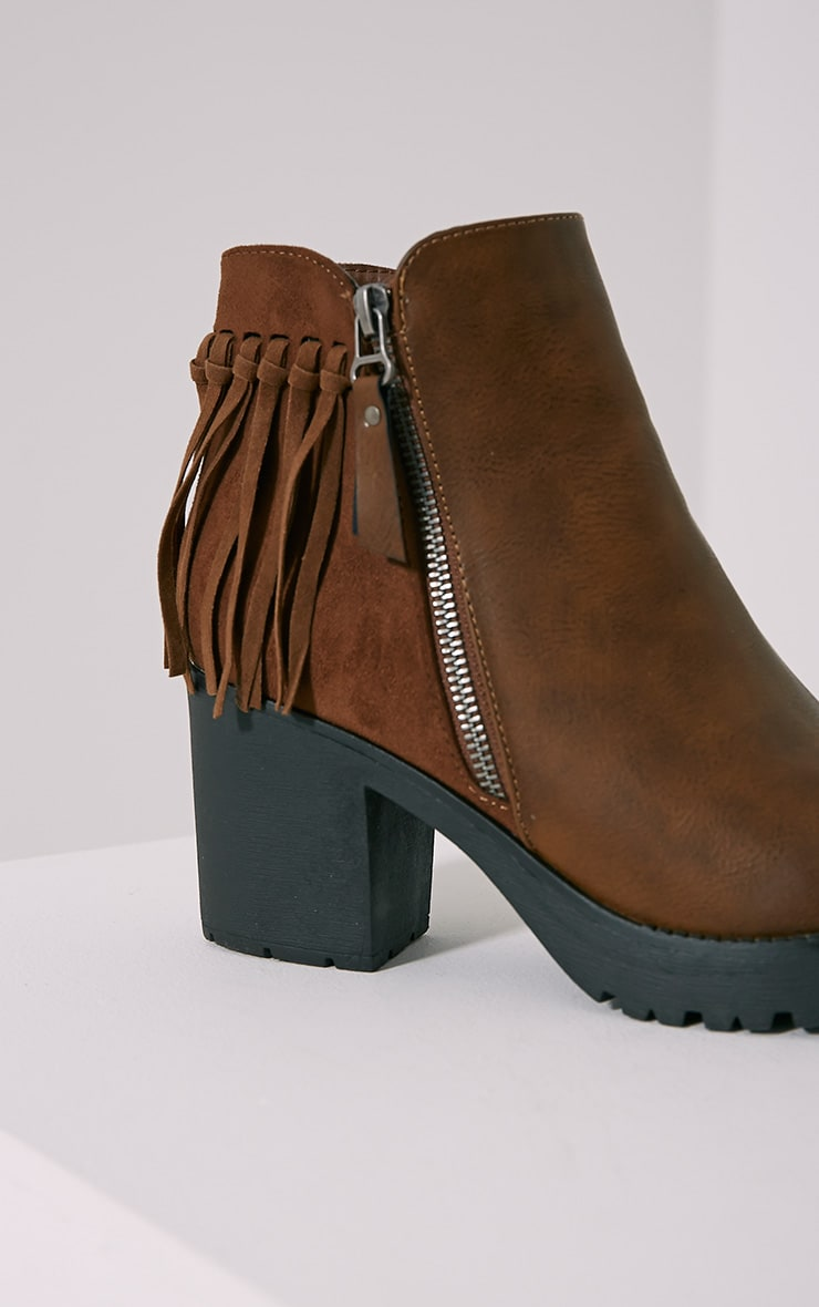 Juana Brown Chunky Tassel Ankle Boots 6