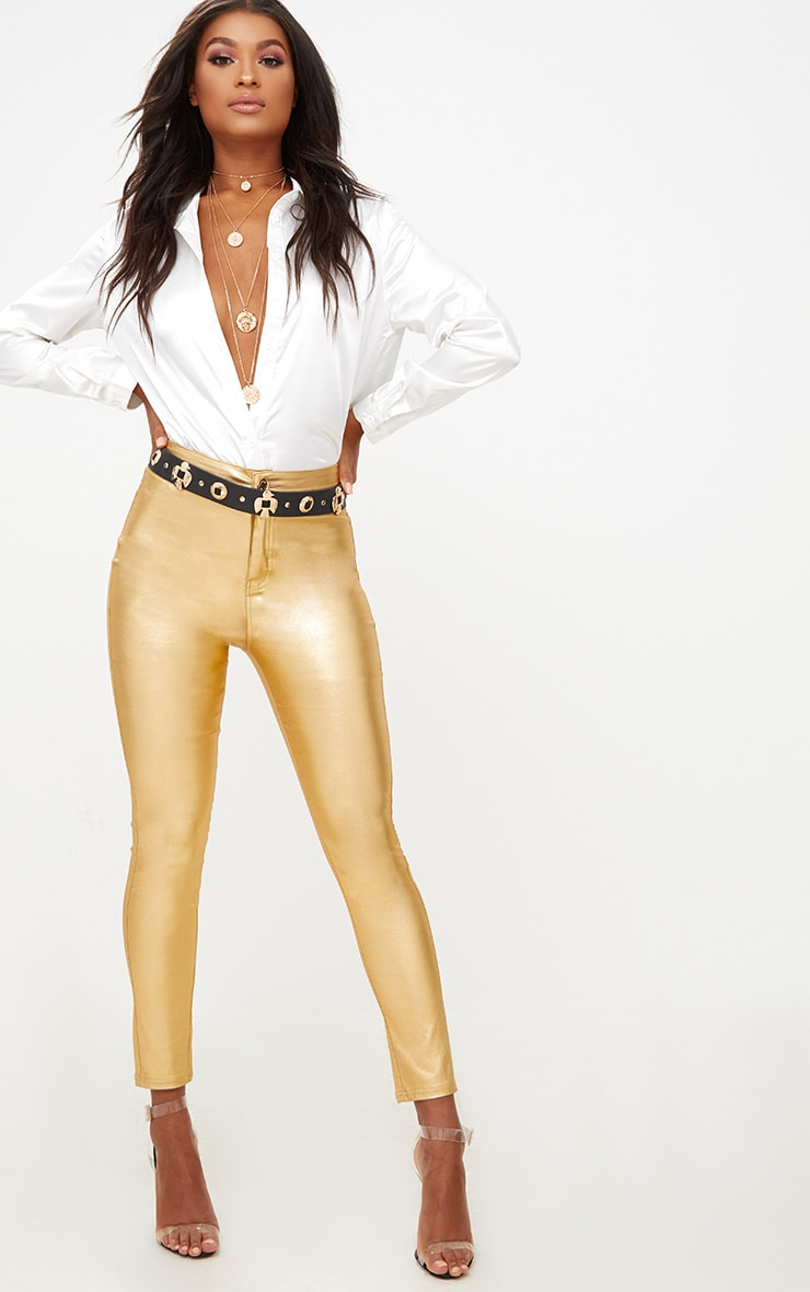 Gold Coated Disco Skinny Jean 1