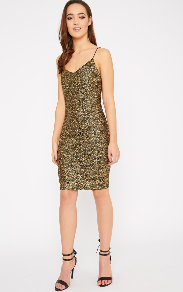 Hania Black Gold Flecked Mini Dress-XS 4