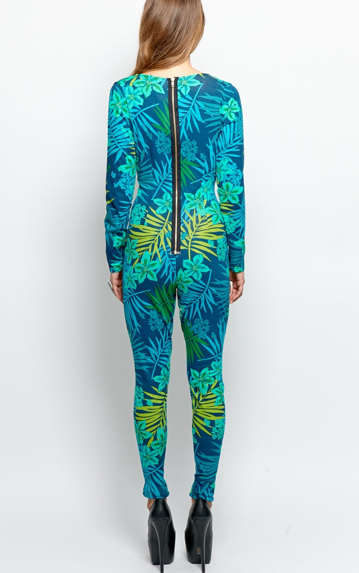 Zyana Green Plunge Tropical Jumpsuit-10 2