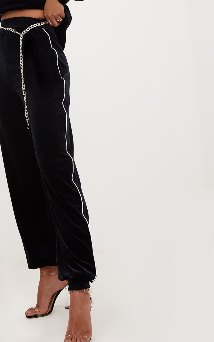 Black Velour Piping  Detail Jogger  5