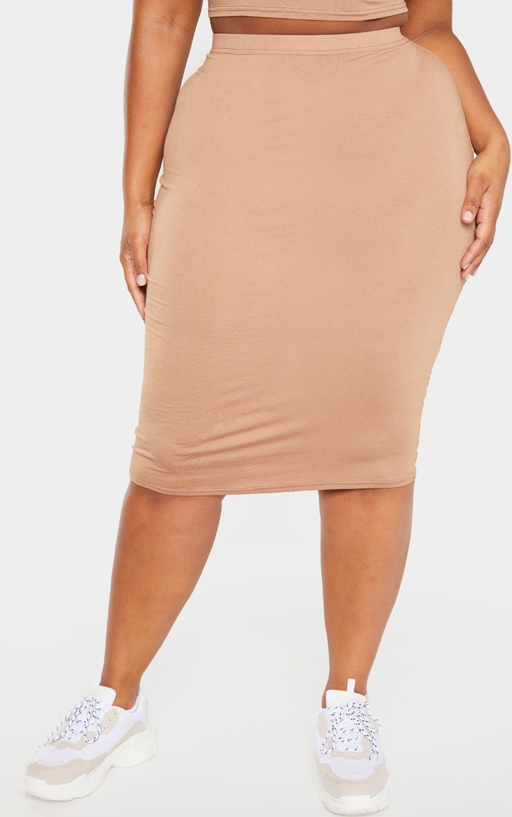 Plus Camel Jersey Midi Skirt 2