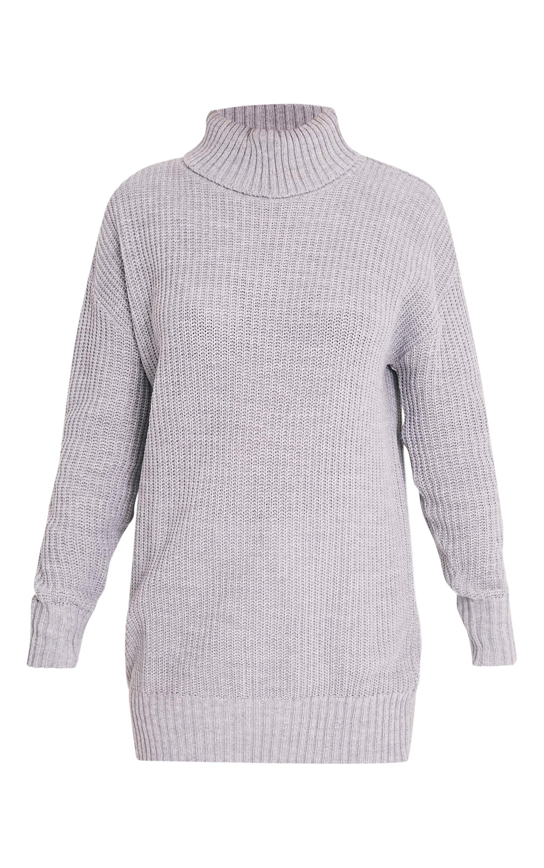 Zora Grey Oversized Turtle Neck Knitted Jumper 3
