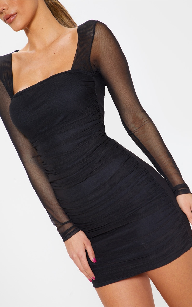 Ruched mesh bodycon dress brand target cheap