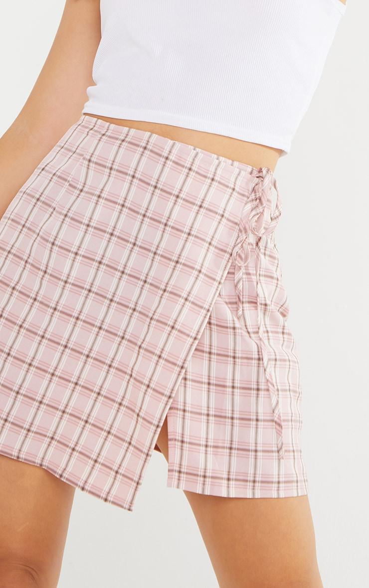 Petite Pink Check Tie Waist Skirt  5