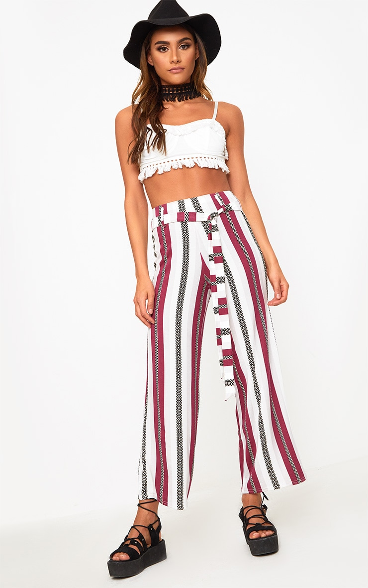 Berry Printed Stripe Longline Culottes 1