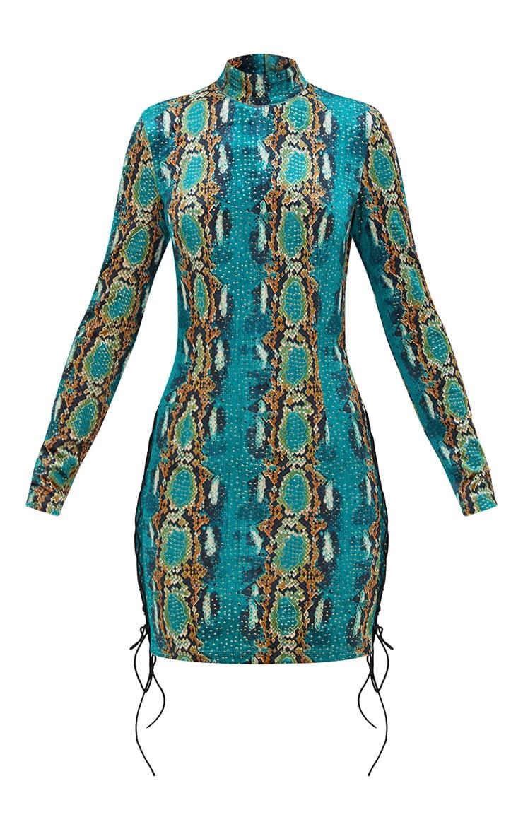 Green Velvet Snake Print Side Lace Up Bodycon Dress 3