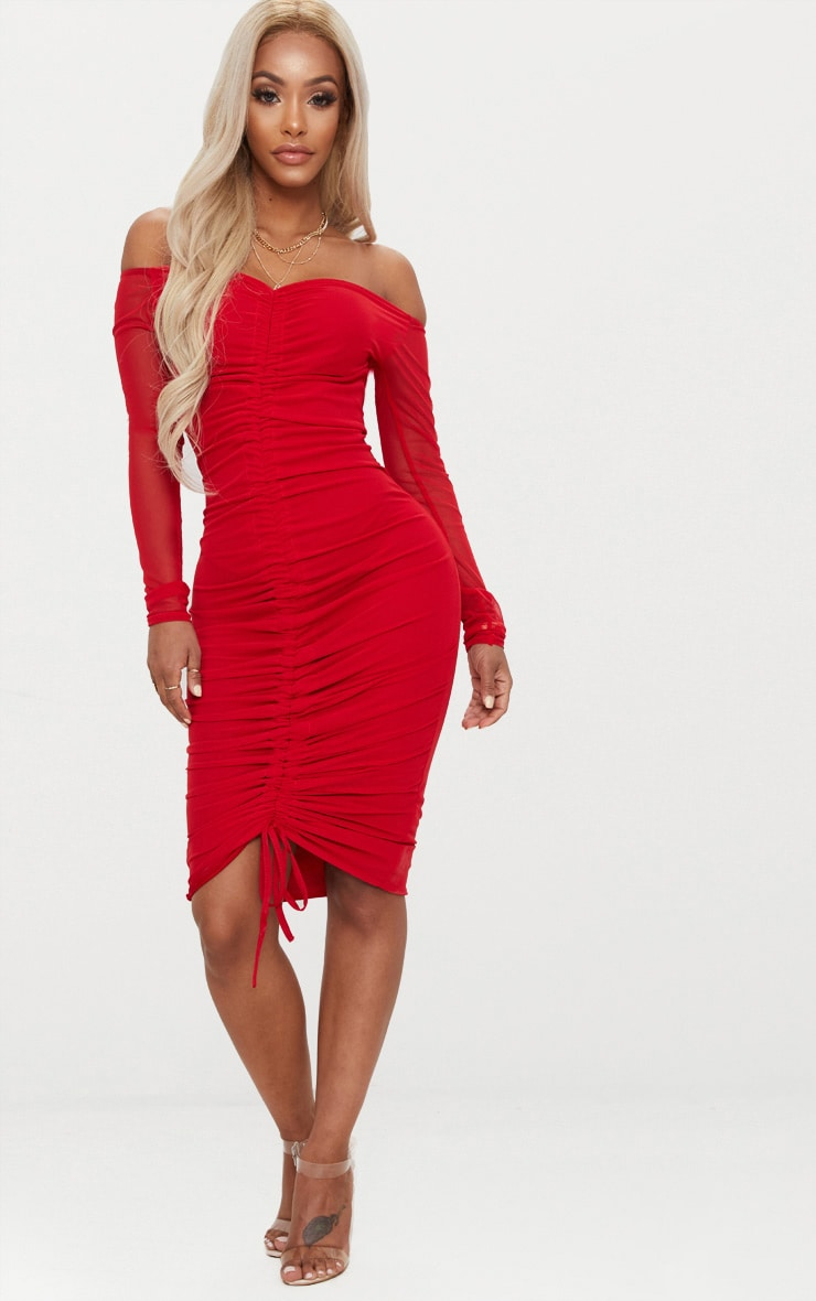 Shape Red Mesh Ruched Bardot Midi Dress 1