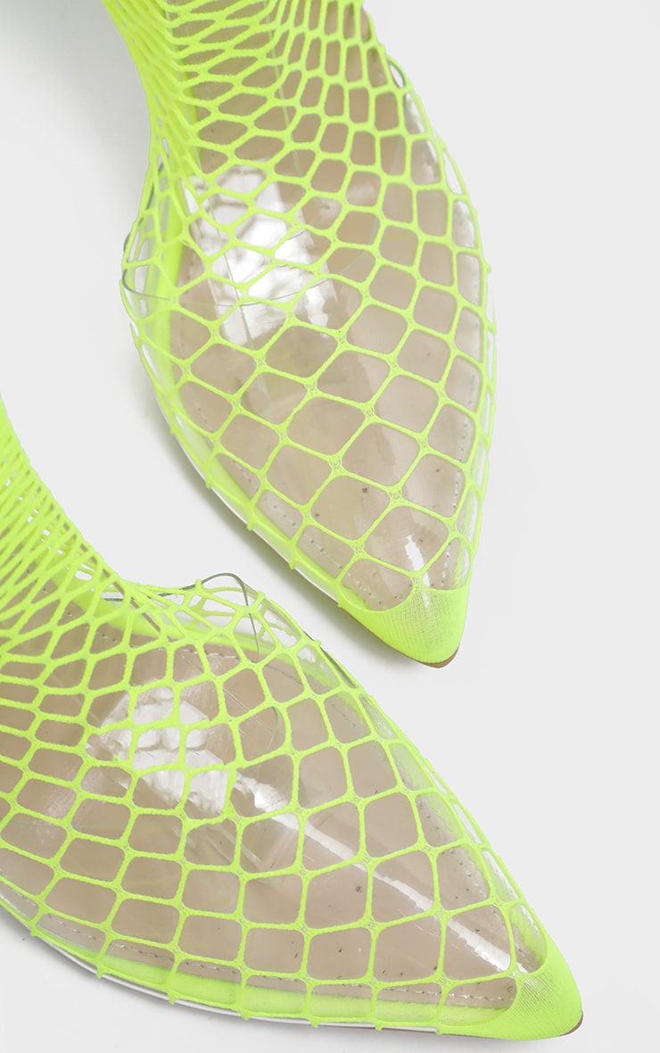 Lime Fishnet Slingback Pointed Toe Heels 4