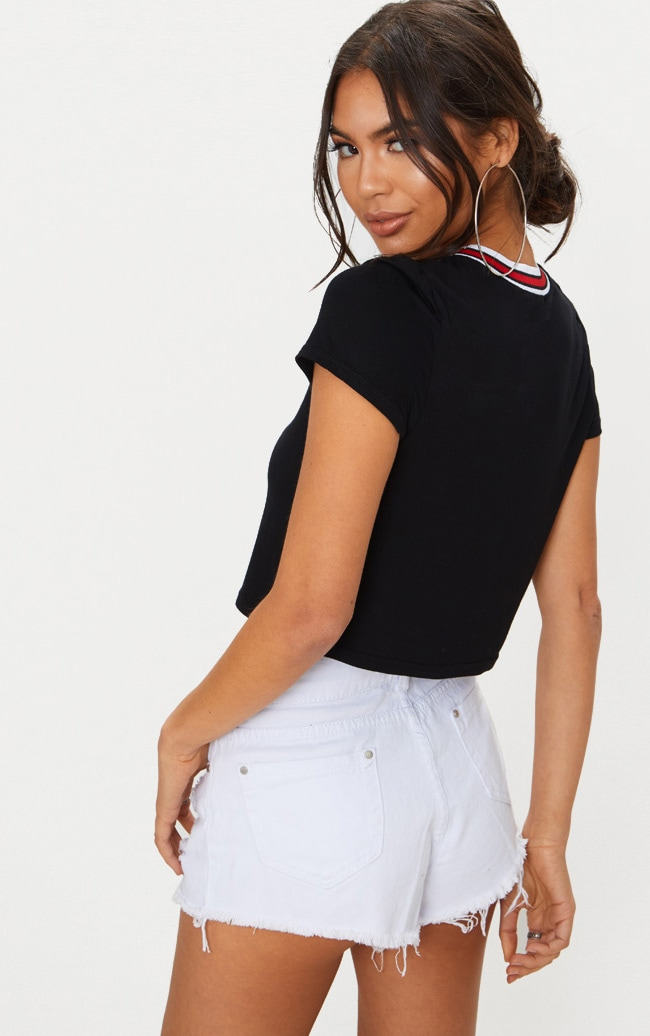Black Embroidered Cherry Tape Detail Crop T Shirt 2