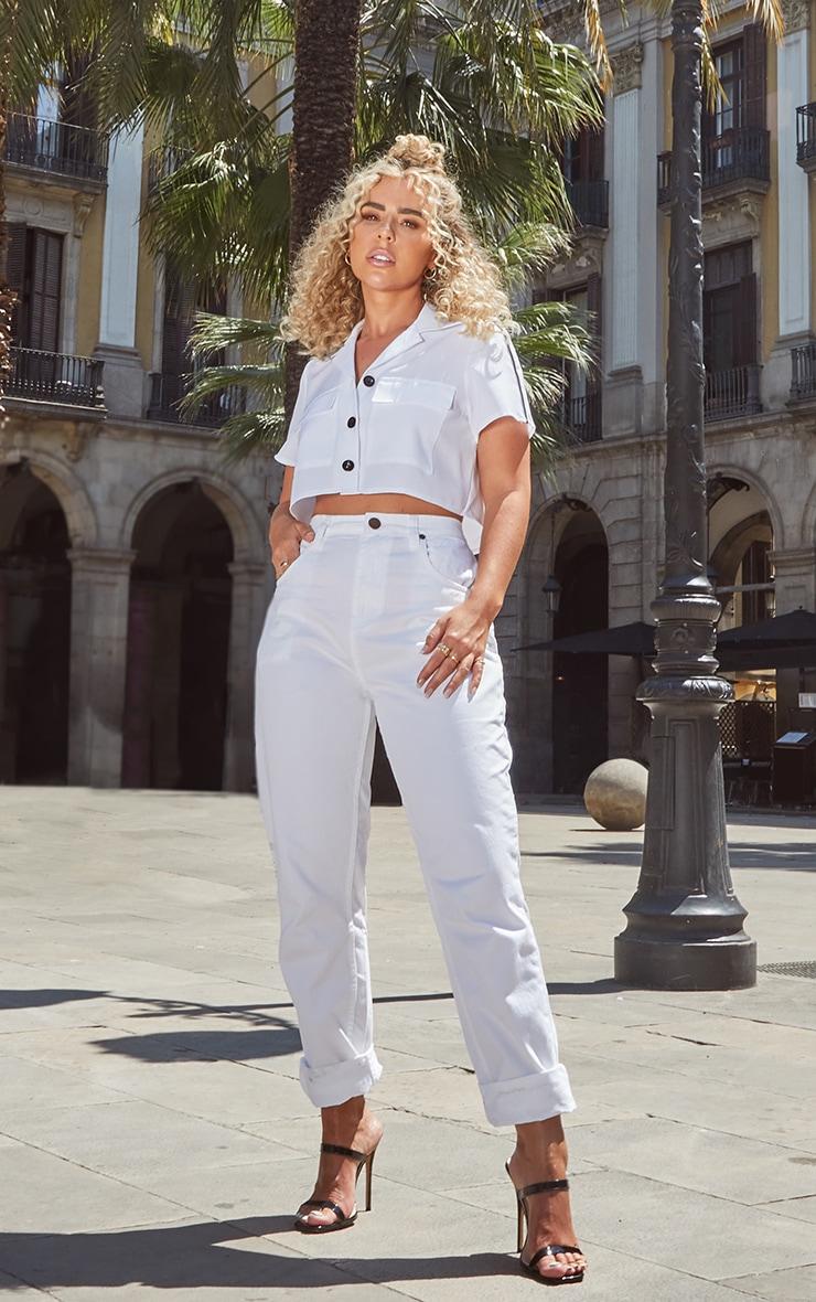 Petite White High Waist Balloon Fit Jeans 1