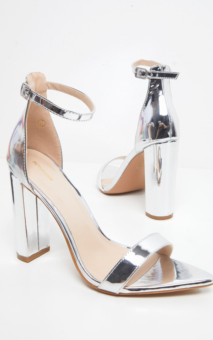 Silver Point Toe Block Heel Strappy Sandal 4