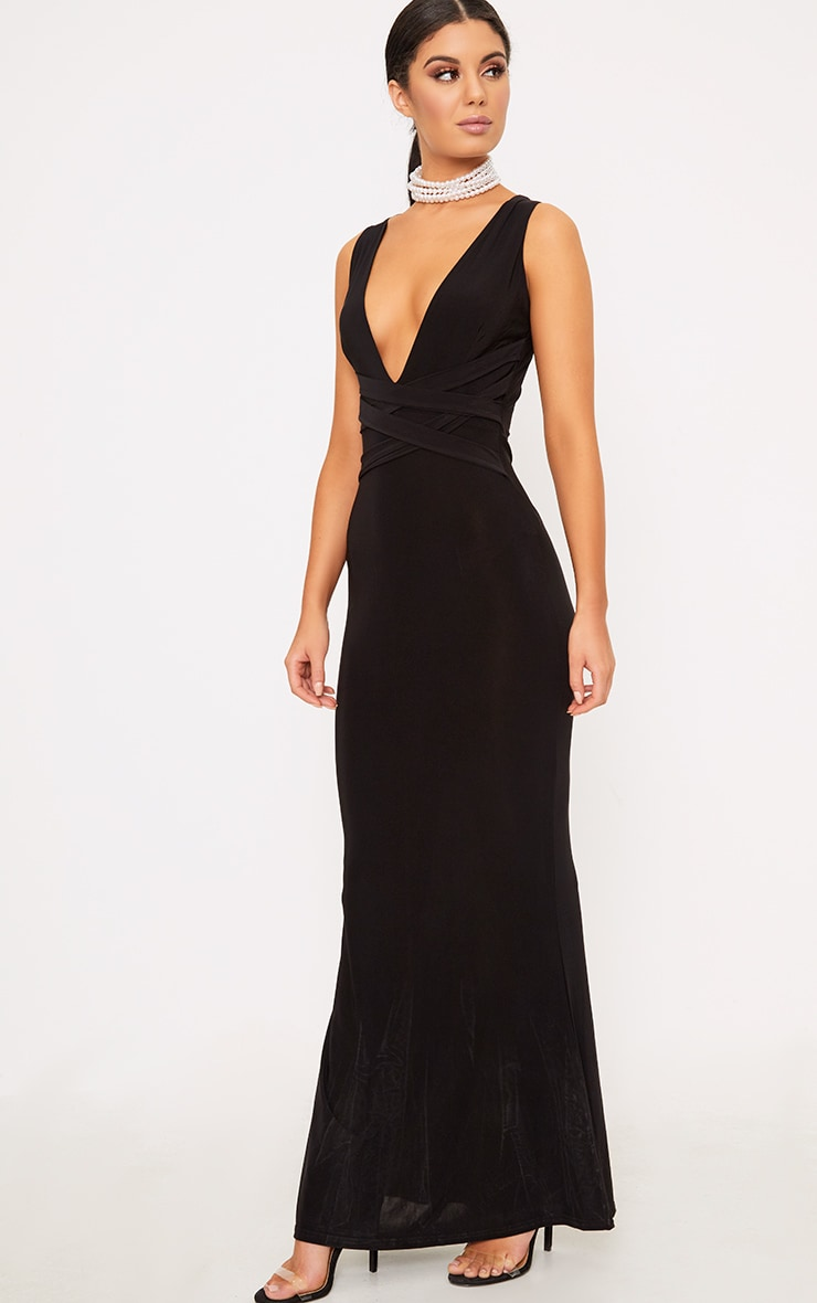 Maci Black Double Wrap Slinky Maxi Dress 4