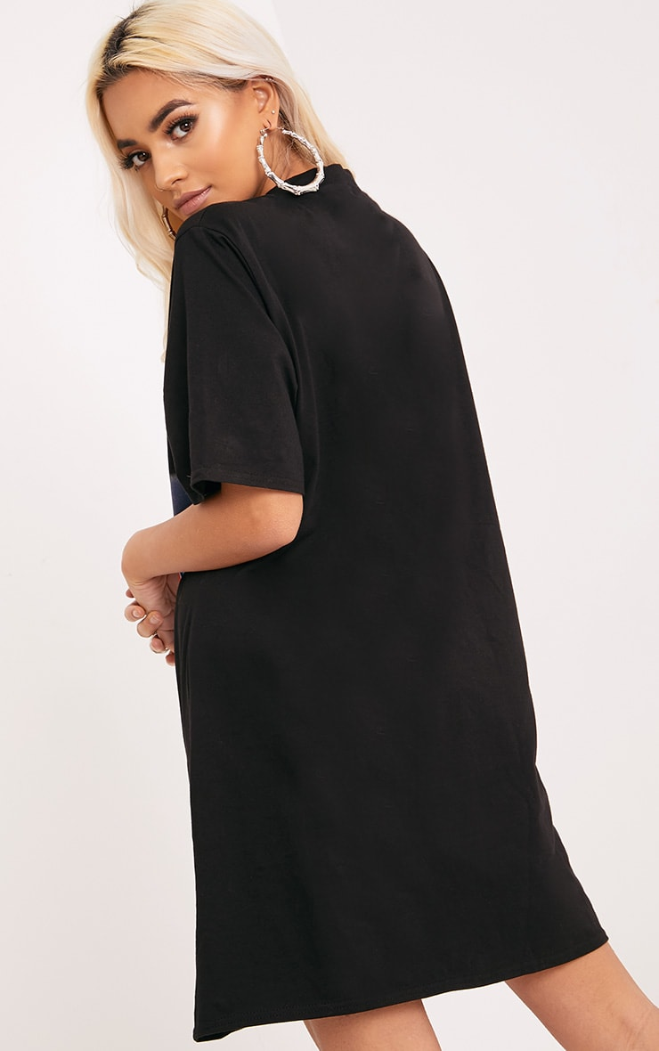 Last Night Black Slogan Extreme Plunge T Shirt Dress 2