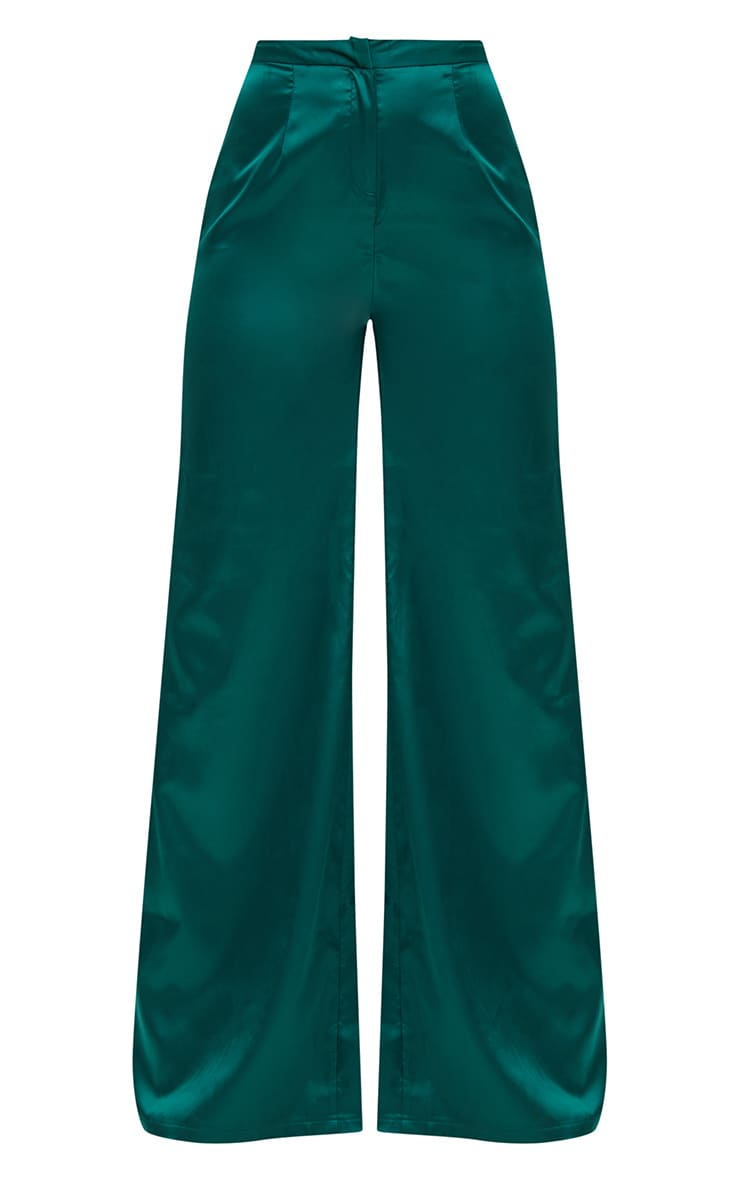 Forest Green Satin Wide Leg Trousers 3