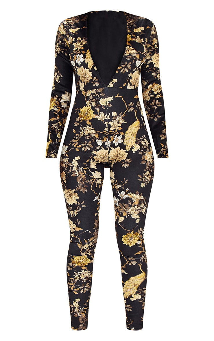 Black Floral Velvet Jumpsuit  3