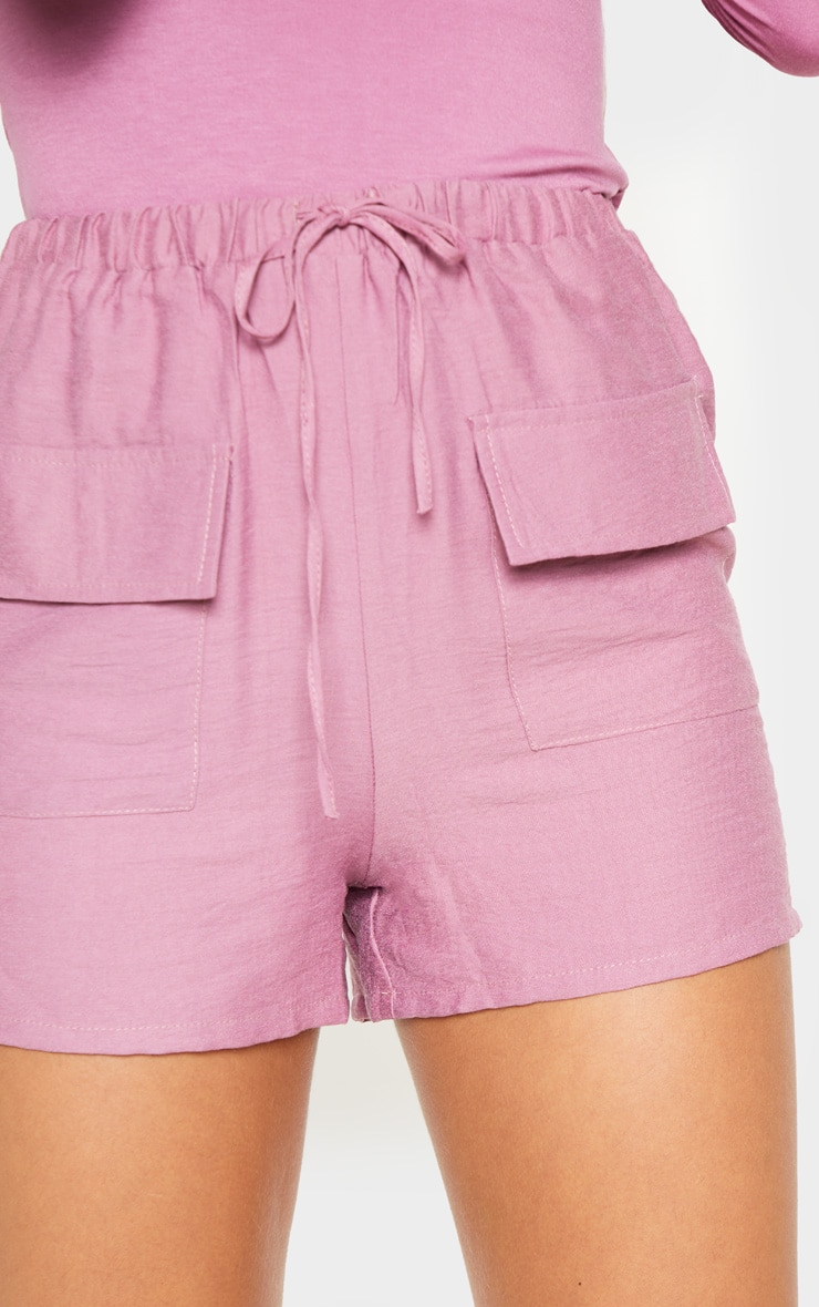 Rose Woven Pocket Front Drawstring Short  6