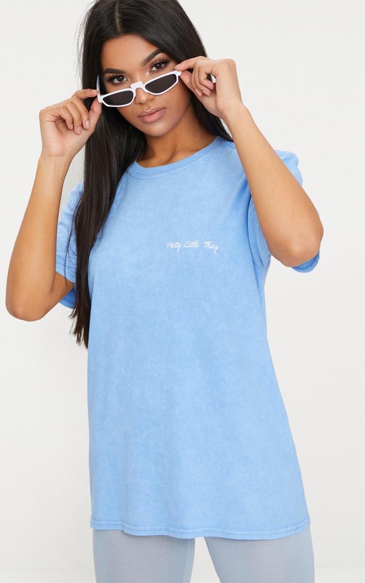 PRETTYLITTLETHING Dusky Blue Acid Wash Slogan T Shirt  1