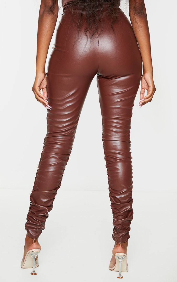 Brown Faux Leather Ruched Leg Skinny Trousers 3