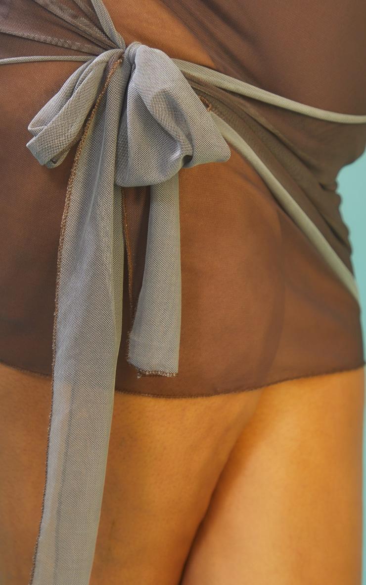 Plus Chocolate Mesh Wrap Beach Skirt 5