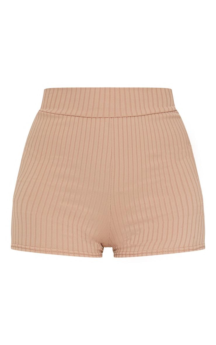 Taupe Ribbed Shorts 6
