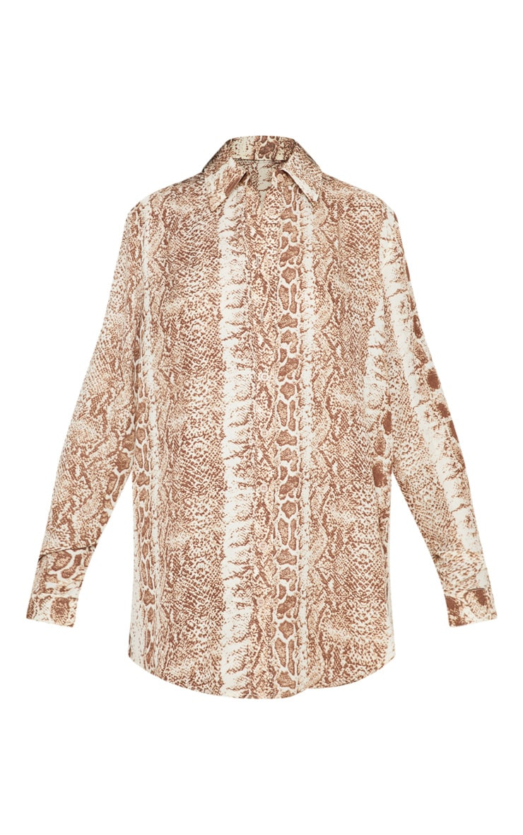 Brown Snake Print Oversized Shirt 3