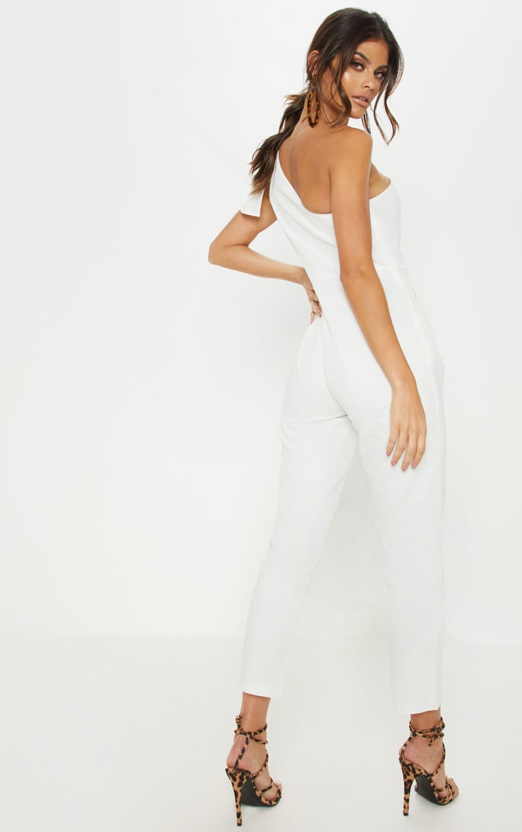 White One Shoulder Woven Sleeveless Jumpsuit 2