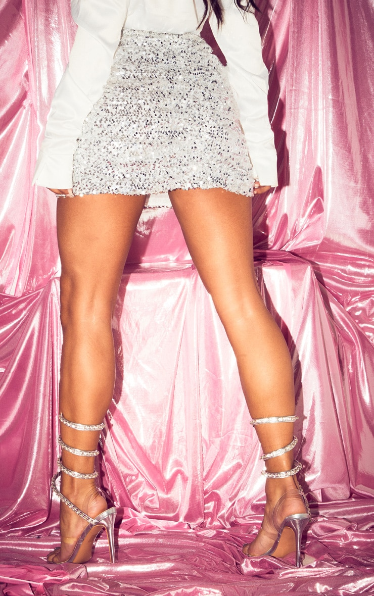 Silver Sequin Ruched Mini Skirt 4