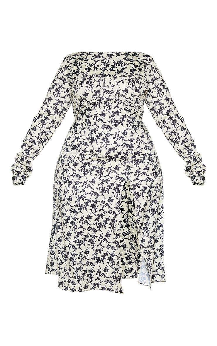 Plus Stone Ditsy Floral Print Cupped Split Detail Midi Dress 5