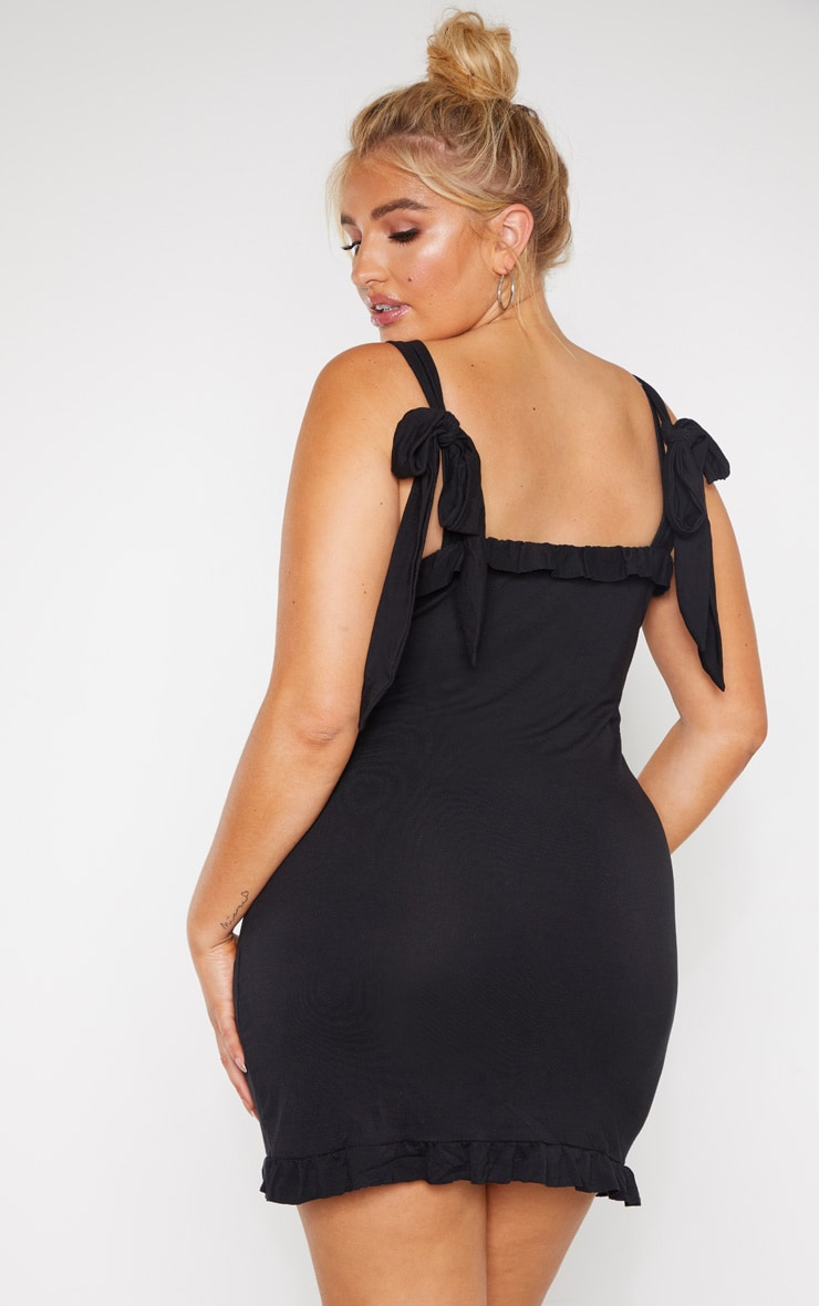 Plus Black Frill Tie Shoulder Bodycon Dress 2