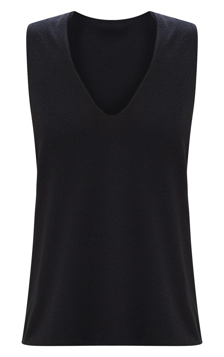 Black Lightweight Deep V Knit Vest 3