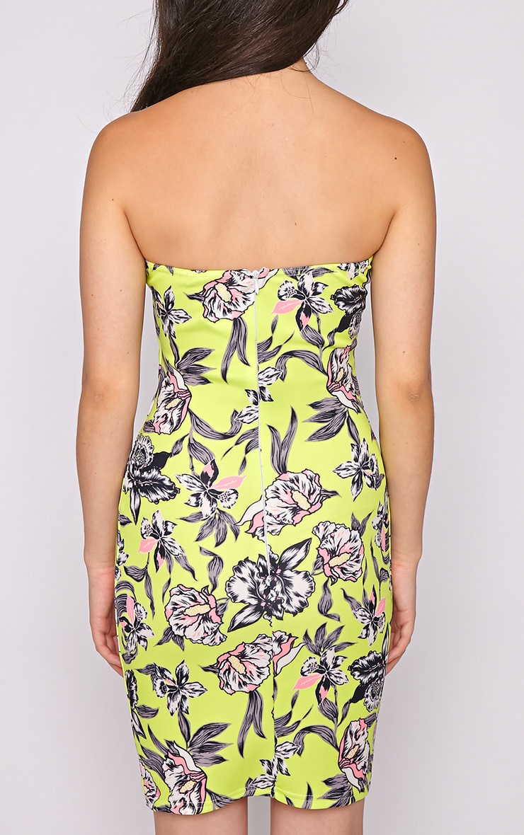 Jamie Lime Floral Strapless Dress 2