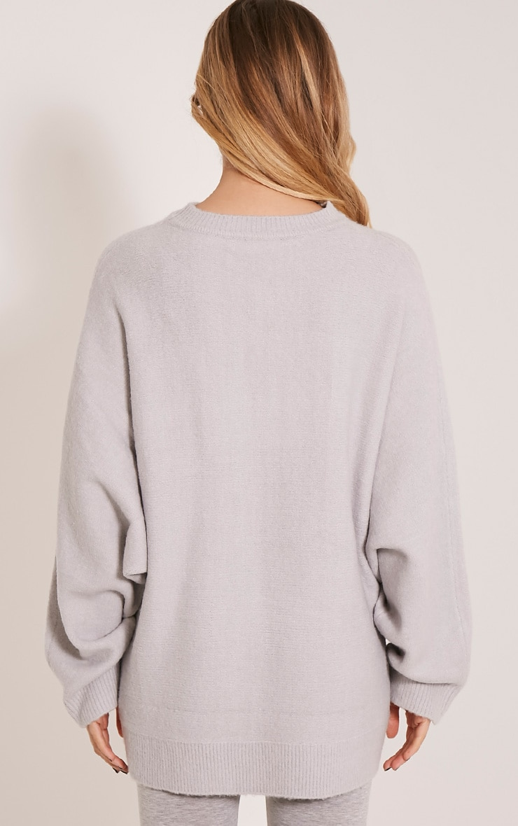 Raysa Silver Oversized Knitted Jumper 2