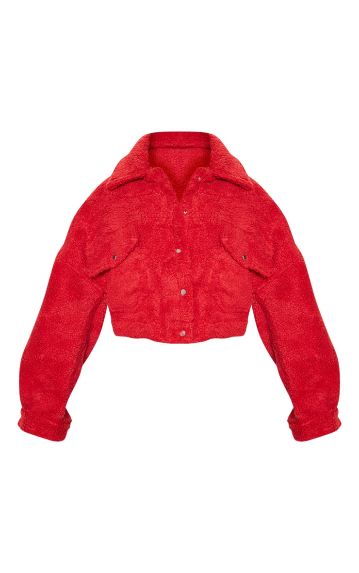 Red Borg Cropped Trucker Jacket  3