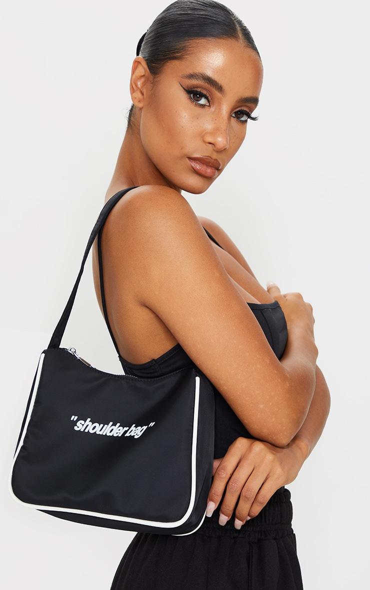 Black Slogan Shoulder Bag 1
