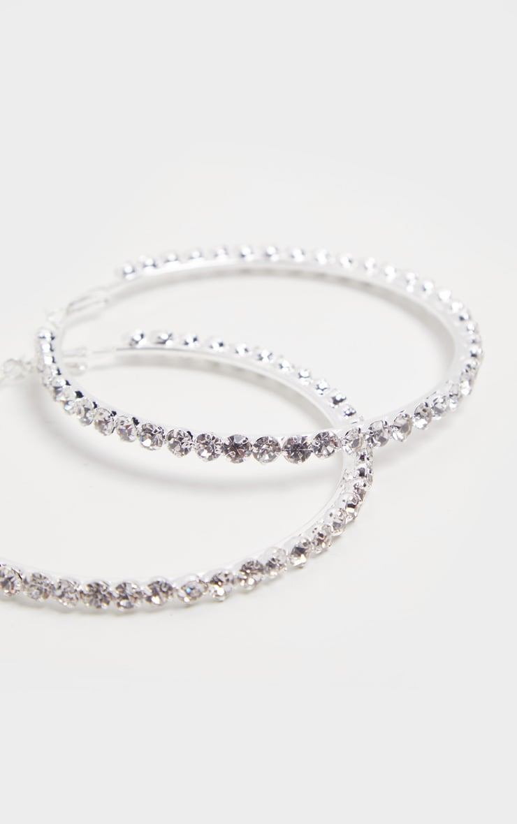 Silver Diamante Edged Hoops 2