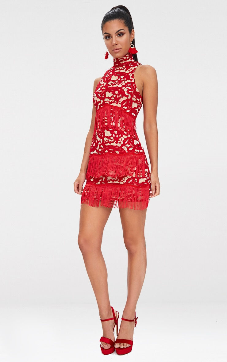 Red Lace Sleeveless Tassel Detail Bodycon Dress  4