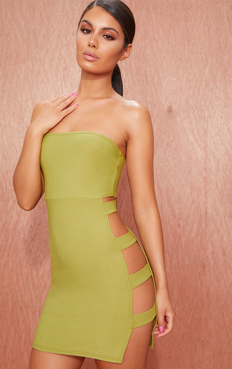 Olive Green Bandeau Strappy Side Bodycon Dress 1