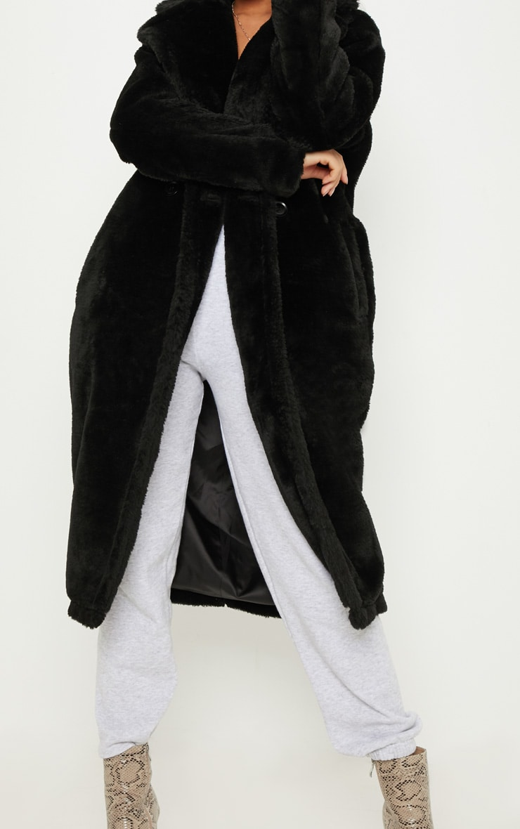 Black Large Lapel Midaxi Faux Fur Coat 5