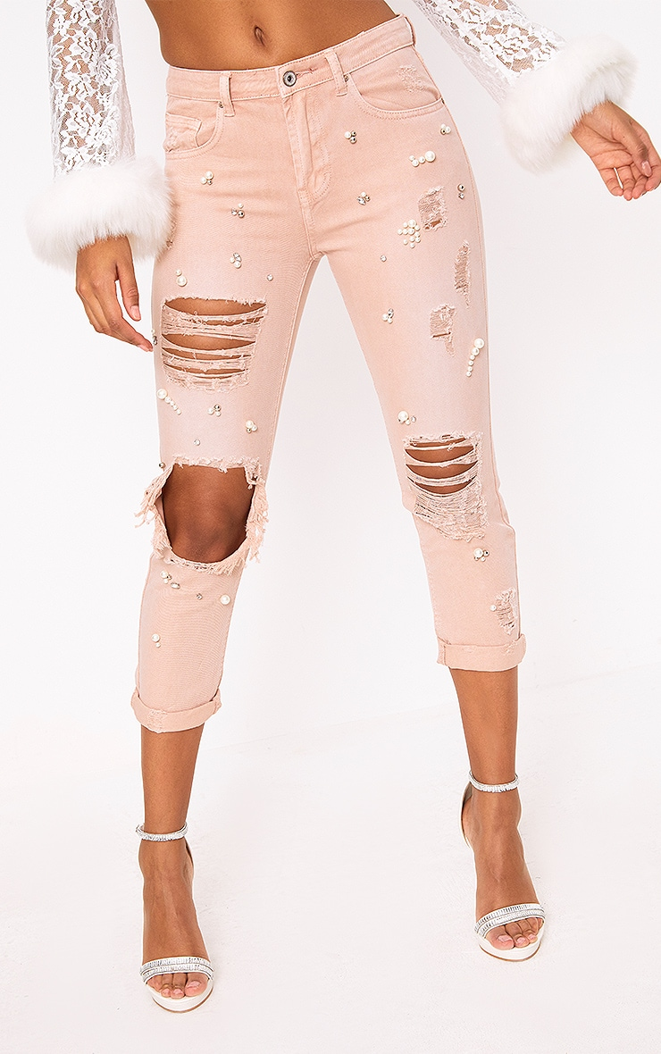 Pink Embellished Mom Jean 2
