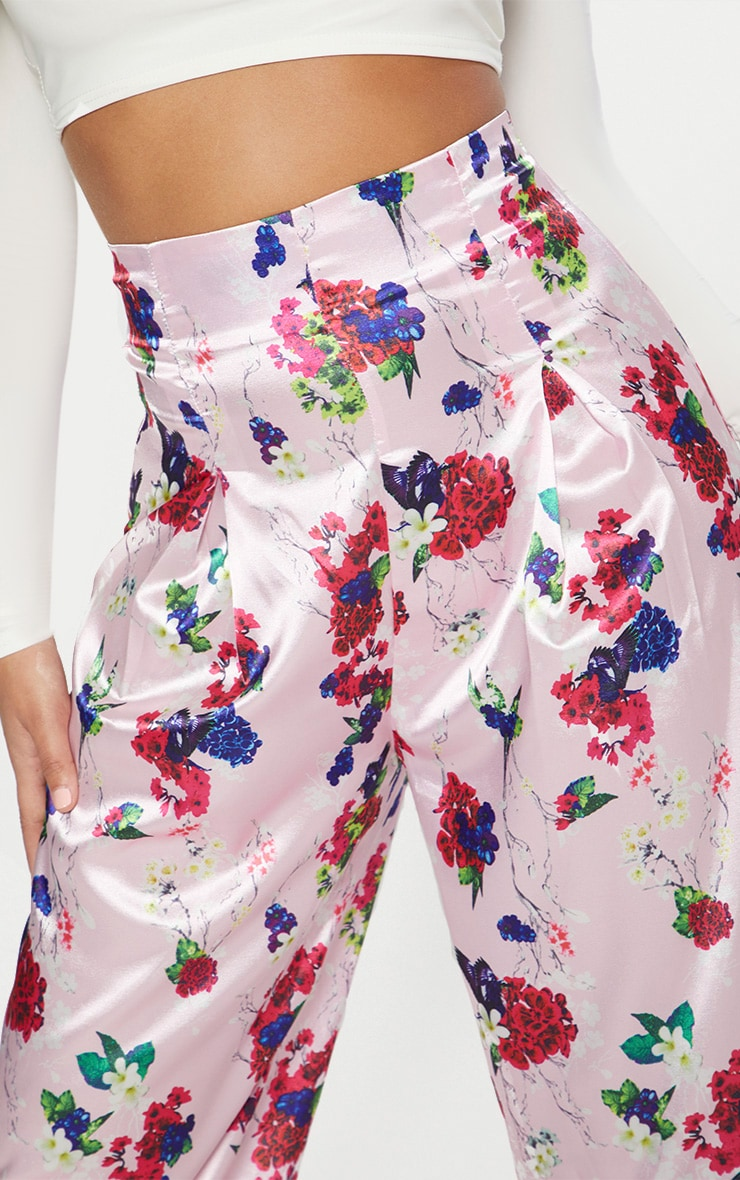 Pink Satin Floral Print High Waisted Trousers 5